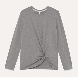 Aritzia Babaton Grey Twist Knotted Longsleeve Top